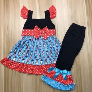 The Cat in the Hat 🎩 Cute Ruffle Pants Set